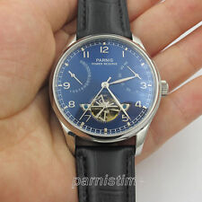43mm Parnis Power Reserve Automatic Men Boy Watch Stainless Steel Case Blue Dial