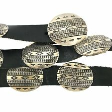 """Native American Sterling Silver Stamped Oval Concho Leather Belt 36"""""""