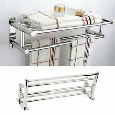 Double Row Chrome Wall Mounted Bathroom Towel Holder Shelf Storage Rack Rall Bu