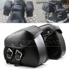 Black Motorcycle PU Side Tool Bag SaddleBag Luggage For Harley Sportster Touring