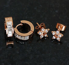 2 Pairs C.Z. Star & Lined Square Gem Rose Gold Plated On Surgical Steel Earrings