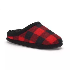 Cuddl Duds Boy's Red & Black Buffalo Plaid Check Slippers Boy Size L 5-6 NEW