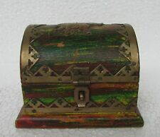 Vintage Hand Crafted Brass Fitted Wooden Jewellery Box, Collectible
