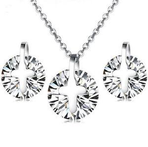 "20"" Stainless Steel Silver Cross Pendant Stud Earrings Jewelry Set Chain Box P16"