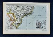 c1885 Hartleben Map Rio de Janeiro Sao Paulo Minas Gerais Brazil South America