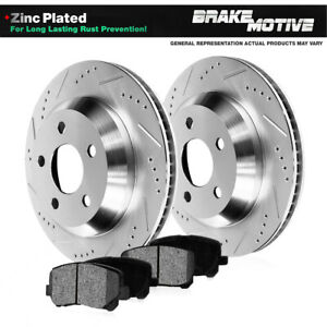 Rear Dril Slot Brake Rotors & Pads For Ford Crown Vic Mercury Grand Marquis