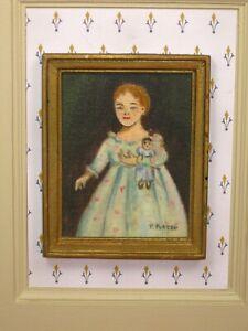Potter American Primitive Oil Painting: Girl w/ Doll Artisan Dollhouse Miniature