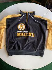 Vintage Boston Bruins Pullover Jacket Sweatshirt Long Sleeve Men's Large USA NHL