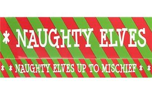 Naughty Elf Caution Tape Banner Christmas Xmas Fun Family Decorations Wrapping