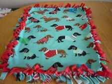 Handmade PLUSH fleece tie blanket of  cozy Dachshunds for a small pet