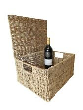 Seagrass Natural Gift Hamper Basket Storage Box with Lid - XL (36x28x19cm)