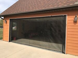 ZIP-ROLL BRAND,  ROLL-UP GARAGE DOOR SCREEN, 10' x 8'-90 DEGREE CORNERS