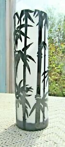 Candle Holder Art Tall Frosted Glass Vase With Bamboo Asian