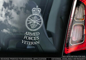 Armed Forces Veteran - Car Sticker - Army Armed Forces Sign Window Decal - V01