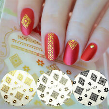 4 Sheets 3D Nail Stickers Tattoos Flower Rhombus Gold Silver Black White Tips