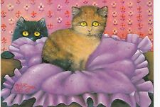 RARE RENATE KOBLINGER 2 cats on the pillow Austrian unposted postcard