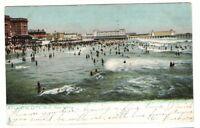 1907 Postmarked Postcard Noon Bathing Ocean at Atlantic City New Jersey NJ