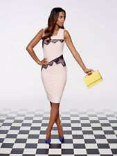 BNWT ROCHELLE HUMES PALE PINK LACE TRIM PENCIL WIGGLE   DRESS  SIZE 12 RRP £74