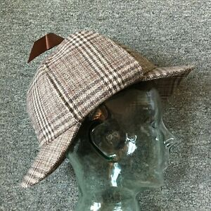 Sherlock Holmes Style Large Brown Wool Tweed Deerstalker Hat