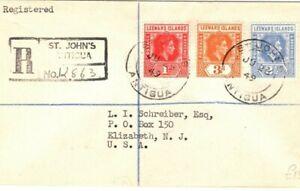 LEEWARD ISLANDS KGVI Cover Antigua St Johns Registered USA{samwells-covers}PB134
