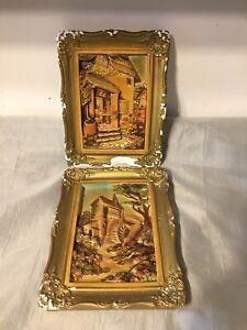2 Vintage Old Chalkware Decorative Picture Plaques Handmade Guildcraft