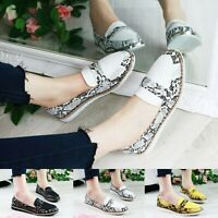 Ladies Snake Skin Chunky Sole Loafers Slip On Flat Embellished Pumps Comfy Shoes