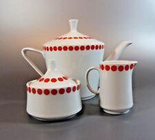 Vintage Tea Pot Set Creamer & Sugar dish Orange Polka Dot Northland 70's f China