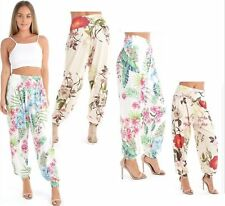 WOMENS LADIES CASUAL FLORAL LEAF PRINT ALIBABA HAREM TROUSERS LEGGINGS SIZE 8-22