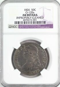~1826 NGC O-120a AU Details 50C Fifty Cents About Uncirculated Early Half (C7)~