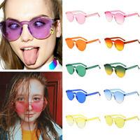 Women Men Clear Retro Sunglasses Outdoor Frameless Eyewear Glasses Candy Colored
