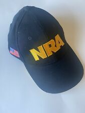 NRA Black & Yellow Embroidered Baseball Cap Hat With USA Flag New
