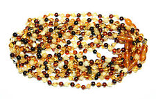 10 lot wholesale Baltic amber baby necklace, multi/mix color round beads 33 cm