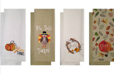 Fall Kitchen Dish Towels Set of 4 Tea 16 x 28 Thanksgiving Halloween Turkey