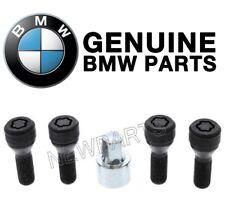 For BMW Wheel Lock Set Black Flower-Shaped Drive Type w/ Spinning Ring Genuine