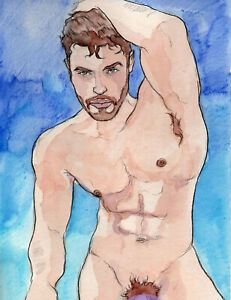 ORIGINAL LARGE MALE NUDE Watercolor - KENT - by GERMANIA