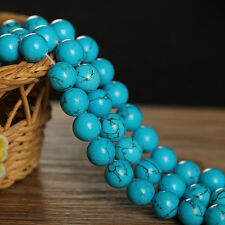 "15""L Blue Turquoise Gemstone Jewelry Round Loose Bead 10mm 1 Strand"