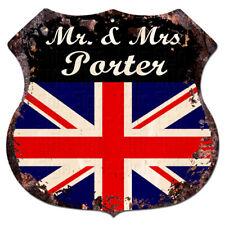 BMUK0148 UK Flag Mr & Mrs PORTER Family Name Sign Decor Gift Ideas