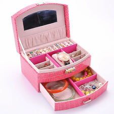 New Jewelry Leather Mirror Box Storage Organizer Ring Earring Necklace Display