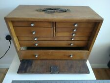 Vintage wooden engineers tool cabinet - with lockable front panel + key