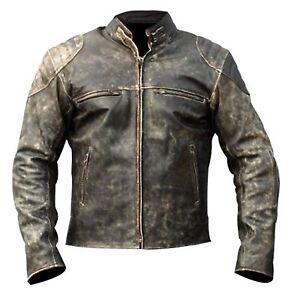 Mens Antique Black Vintage Distressed Retro Motorcycle Biker Leather Jacket