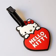 Hello Kitty Red Heart Soft Silicone Rubber Luggage Bag Backpack Address Tag