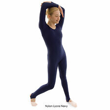 Ladies Long Sleeved Dance Catsuit Shiny Nylon Lycra with stirrups Adults NEW