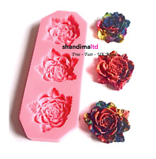 3 Large Rose Flower Silicone Mould Fondant Cake Topper Modelling Tools