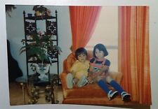 Vintage Photography PHOTO BROTHER 7 SISTER SHARING CHAIR SEAT CUTE DRESSED KIDS
