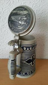 Keramik Bierkrug Gerzit 0,5L Blauglasur  Zinndeckel Dampflok .. meine Dienstzeit