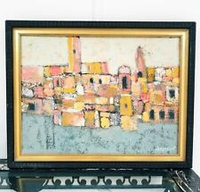 Mid Century Signed CLAIRE V DORST ORIGINAL IMPASTO OIL PAINTING CITYSCAPE