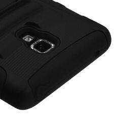 For LG Optimus F7 US780 HYBRID KICKSTAND Rubber Silicone Case Phone Cover Black