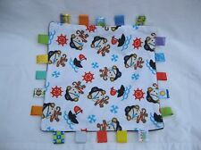 Taggies White Blue Pirate Monkeys Ships Bones Baby Security Blanket Lovey 12""