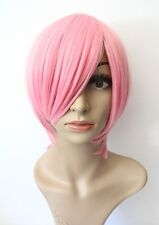 NEW Women's Short Bob Wig Anime Halloween Cosplay Costume Bright Pink Party