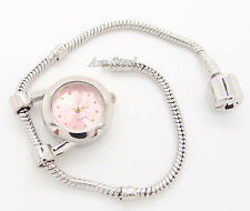 "PINK Quartz Watch + 8"" European Charm Bead Bracelet"